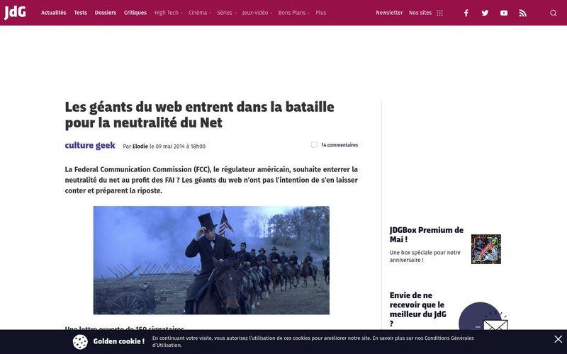 Journal du Geek : Les géants du web entrent dans la bataille pour la neutralité du Net
