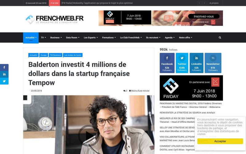 Balderton investit 4 millions de dollars dans la startup française Tempow : FrenchWeb.fr