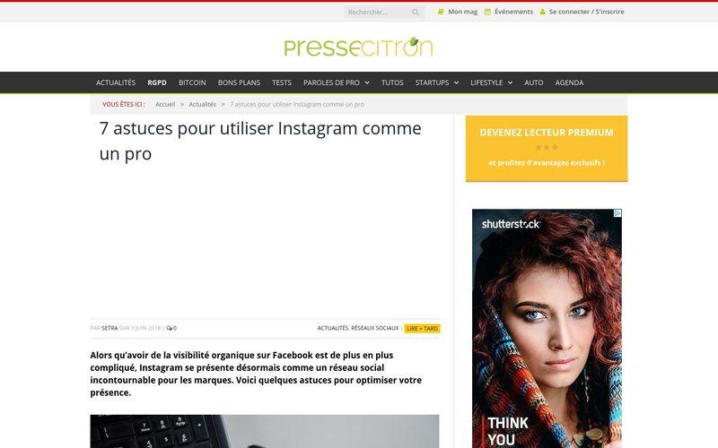 Presse Citron : 7 astuces pour utiliser Instagram comme un pro